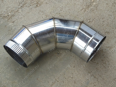Одноконтурный отвод 200 мм 90 из нержавеющей стали 0,8 мм цена